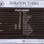 Saloon Tabu Fiyat Listesi
